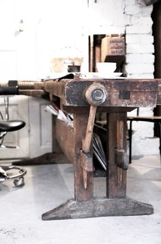 Awesome vintage work desk! Check out more cool vintage stuff here: http://theindustrialartifactory.com/art-furnishings/