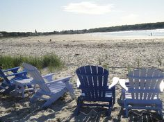 Cape Porpoise, Maine - I like the varying shades of purple on the Adirondack chairs