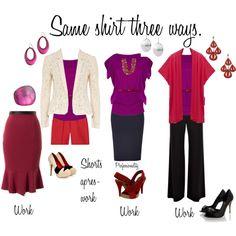 Same jewel-toned purpe shirt three ways, created by professionality on Polyvore