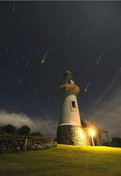 and the meteor shower. Awesome shooting stars during meteor shower display! Batanes, Paris 3, Lighthouse Pictures, Star Trails, Beacon Of Light, Meteor Shower, Jolie Photo, Le Moulin, Night Skies