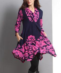 Look at this #zulilyfind! Navy Floral Shawl Collar Handkerchief Dress #zulilyfinds