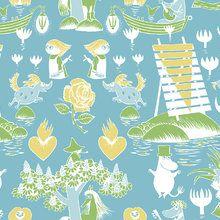 Wallpaper - Moomin Retro Pattern - Blue & Green