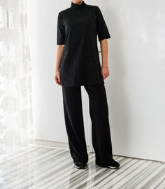 NEW SS16 Black Maxi Suit , Maxi set of Maxi Pants and Maxi Top, Maxi Clothing, Plus size clothing, Spring Summer clothing set