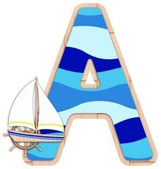Alphabet Templates, Alphabet Images, Alphabet Print, Alphabet And Numbers, Nautical Letters, Nautical Baby, Nautical Theme, Birthday Photos, 1st Birthday Parties