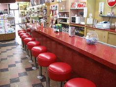 An old soda fountain at many 5 and dime stores, like Woolworth's