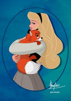 Aurora [as Briar Rose] & Tod (Disney Meets Disney by Fernl Disney Pixar, Walt Disney, Disney Nerd, Disney Fan Art, Cute Disney, Disney Animation, Disney And Dreamworks, Disney Girls, Disney Cartoons