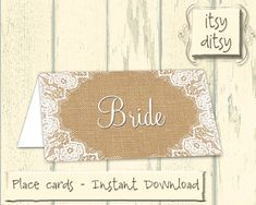 Rustic placecards  Printable wedding Burlap & by itsyditsydesigns, $5.00