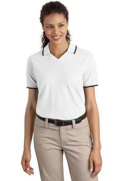 Port Authority Ladies Cool Mesh Polo with Tipping Stripe Trim. L431 White/ khaki/navy