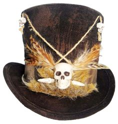 Voodoo Witch Doctor Tall Brown Top Hat Skull Bones Steampunk Gypsy Victorian #steampunkhat
