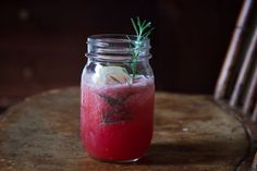 Boozy Watermelon Rosemary Lemonade by piccantedolce, food52: Frosty watermelon puree, lemon juice, rosemary and gin a mason jar. I'm dreaming of summer! #Cocktail #Watermelon_Rosemary_Lemonade #food52