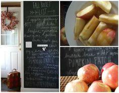 Modern and fresh fall home decor - love the chalkboard