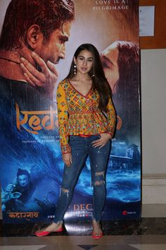 Indian Fashion Winters Sara Ali Khan's most notable looks from Kedarnath promotions. Inside the young 'Bollywood' debutant's wardrobe. In Pic: in brilliant Gujarati ethnic, tribal blouse over ripped jeans,