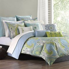 This comforter brings in bright shades of blue and greens to create this unique design on a soft, 100% cotton fabrication. Description from pinterest.com. I searched for this on bing.com/images
