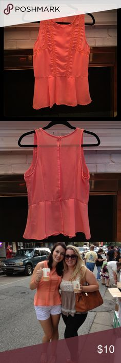 Coral/pink sheer blouse! Coral/pink sheer Lush blouse with open back! Slightly flares at the bottom! Super cute for summer! Lush Tops Blouses
