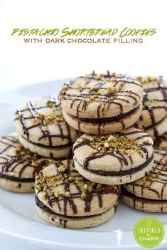 Pistachio Shortbread Cookies with Dark Chocolate Filling