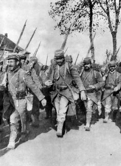 WW1; Poilu's in their conspicuous pre-war uniforms…