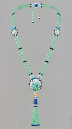 Van Cleef & Arpels. Lucky legends, Everlasting Light necklace, white gold, chrysoprase, Mandarin garnets, sapphire, turquoise, diamonds, lapis lazuli
