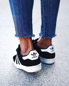 Raw hems and fresh black & white Adidas Gazelle