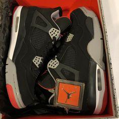 cb740551d05 Nike Air Jordan 4 IV Retro 2012 Black Red Cement 308497 089 sz 10 Grey Bred