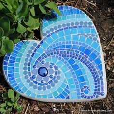 Ionian Sea Mosaic Heart Shaped Stepping Stone by brendapokorny