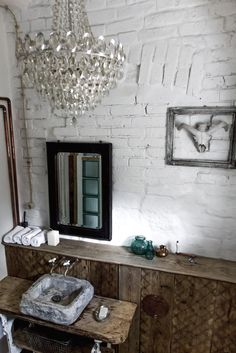 bathroom, loft, vintage, раковина из бетона, Conch of concrete