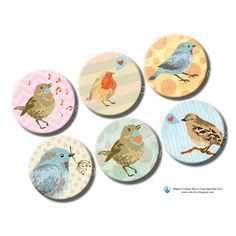 1 inch circles Nature Birds. Printable images for by InkFive, $4.20