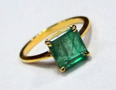 Emerald Ring 18 K solid gold Emerald ring 9401 by TRIBALEXPORT, $645.00