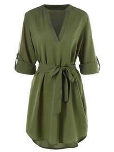 Casual Belted Knee Length Dress - Army Green - 3877665212 - Original Design-Women's Clothing dresses for women Casual Belted Knee Length Dress - Army Green - 3877665212 Size M Green Dress Casual, Casual Belt, Dress Black, Casual Dress For Fall, Green Dress Outfit, Classy Casual, Dresses Elegant, Trendy Dresses, Maxi Dresses