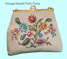 Vintage Needle Point Brass Handle Purse by RewindClothing on Etsy