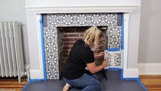 Cutting Edge Stencils tile stencils are taking over the DIY home improvement movement! You can use tile stencils on almost any surface. We have seen stunning DI… Paint Fireplace Tile, Shiplap Fireplace, Fireplace Hearth, Fireplaces, Wood Mantle, Fireplace Ideas, Damask Stencil, Stencil Diy, Tile Stencils