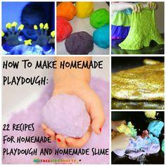 How to Make Homemade Playdough: 22 Recipes for Homemade Playdough and Homemade Slime. Literally every playdough recipe you'll ever need!