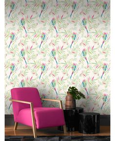 This stunning wallpaper features a beautiful tropical parrot and foliage design on a white background. The colourful birds and branches are printed in a hand painted style in tones of pink, green and blue on to luxury heavyweight paper to ensure durability and a quality finish. Also comes in a striking black print.