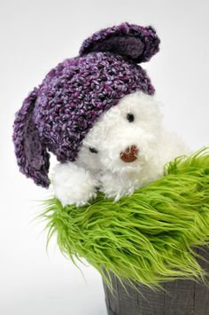 Purple Bunny Hat with Floppy Ears by JLloPhotographyProps on Etsy, $28.99