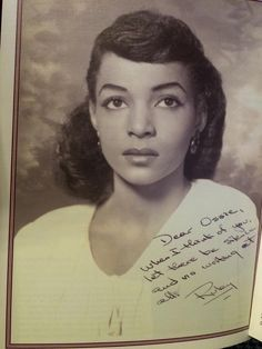 "Ruby Dee: ""Dear Ossie -- When I think of you, let there be silence, and no writing at all."""