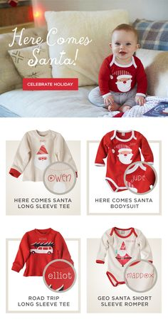 Here Comes Santa Baby! We've got adorable outfits for Christmas for your baby - and you can personalize them too!