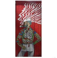 Hand Painted Tattooed Sailor Rocoo Bamboo Door Curtain Art Retro