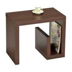 This functional side table has a beautiful walnut wood finish with lower shelf storage. The living space accent piece is ideal for use as a phone table, lamp table, decorative display table or book shelf.