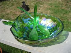 /indiana-glass-carnival-glass-salad-bowl and servers