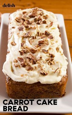 Your Easter Brunch Needs This Cinnamon Carrot. Your Easter Brunch Needs This Cinnamon Carrot Cake Bread Delish Carrot Cake Bread, Best Carrot Cake, Bread Cake, Dessert Bread, Carrot Loaf, Carrot Bread Recipe Moist, Carrot Cake Muffins, Carrot Recipes, Apple Pie Bread