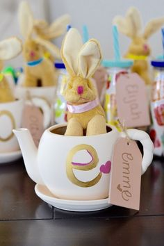 Alice in Wonderland First Birthday Party Favor Ideas, DIY. Can also be used for a tea party, or Easter party.