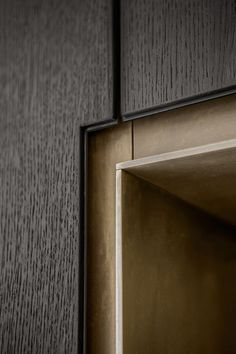 Brass angle detail in cabinetry