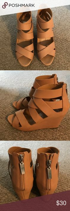 Dolce Vita Tan Leather Wedges size 8 In great condition! Very comfortable and versatile shoe! Dolce Vita Shoes Wedges