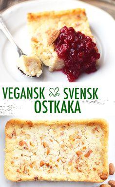 Vegansk ostkaka ~ Tillaga en traditionell svensk ostkaka. Smakar väldigt likt orginalet men är tillagad utan ägg och mjölk. Med mycket mandel och smak av bittermandel. Serveras med lite sylt och vispad vegetabilisk grädde.