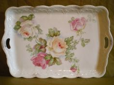 Vintage-China-Tray-Peach-And-Pink-Roses-Gold-Accents-Made-In-Austria