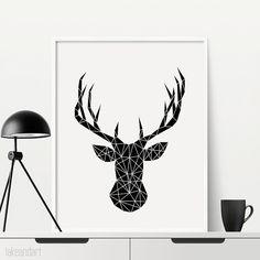 Cerf tête Print - géométrique, tête de cerf imprimable, imprimer, impression de mur, mur Deco - la-316