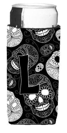 Letter L Day of the Dead Skulls Black Ultra Beverage Insulators for slim cans CJ2008-LMUK