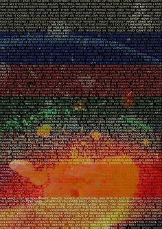 'Radiohead - In Rainbows Album Lyrics Design Poster by joshwaites Radiohead Lyrics, Radiohead Poster, Song Lyrics, Lyric Art, Radiohead In Rainbows, Colin Greenwood, Band Posters, Music Posters, Retro Posters