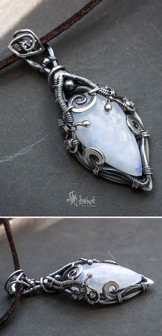 Moonstone wire wrapped silver necklace