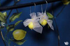 Yellow earrings Lace earrings Lemon yellow Beige ivory lace