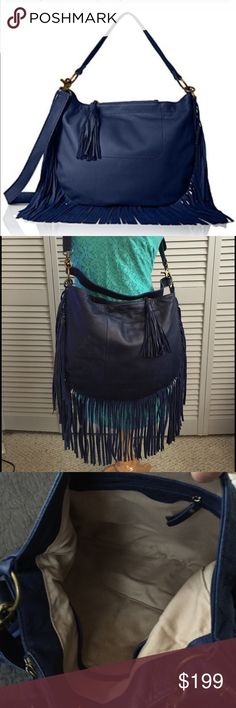 🎉HP🎉 Lucky Brand Rickey Hobo Saddle Crossbody Stunning Lucky Brand cobalt blue leather fringe crossbody with removable strap.  This can convert to a hobo bag or wear it as a crossbody.  NWT and in great condition this bag is just cool.  There is a zippered pocket on the top for your cellphone and tons of room inside.  This is just a beautiful bag. Lucky Brand Bags Crossbody Bags
